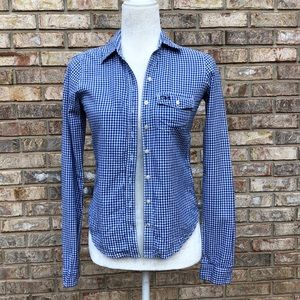 Gilly Hicks blue gingham top, Sz XS, GUC